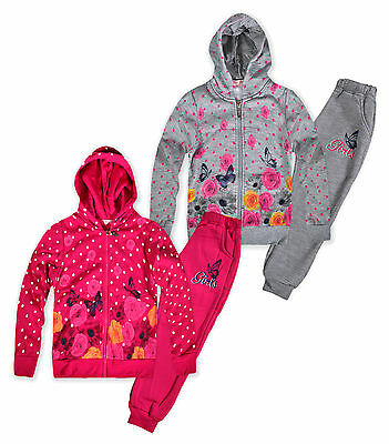 Girls Polka Dot Floral Tracksuit New Kids Hoodie Joggers Set Ages 2-12 Years