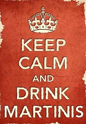 ACR37 Vintage Style Red Keep Calm Drink Martinis Funny Art Poster Print A2/A3/A4