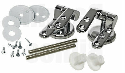 New Wooden Toilet Seat Chrome Hinges Pair Of Replacement Hinge Set With Fittings