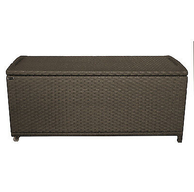 Charles Bentley Rattan Wicker Outdoor Garden Storage Cushion Box Chest Black