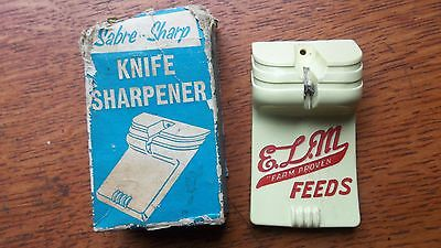 "Antique ""Sabre Sharp"" Knife Sharpener ""ELM Feeds Farm Proven"" in Box"