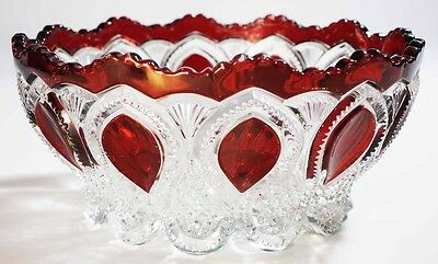 """EAPG - U.S. Glass - NEW JERSEY - 8.5"""" Bowl - Ruby Stain"""