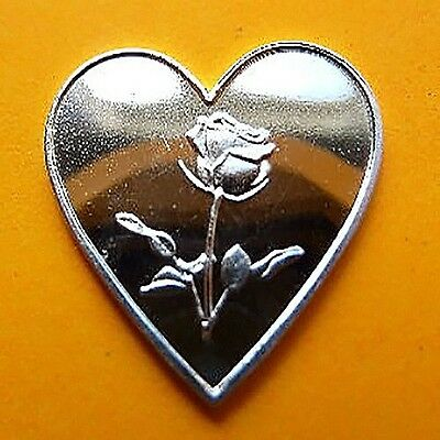 999 Silver bullion Heart with Rose Super Gift & Conditioning RARE NEW