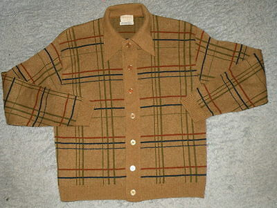 vtg 1960s mens Cardigan Sweater Brent brown Check pattern sz L Big Collar