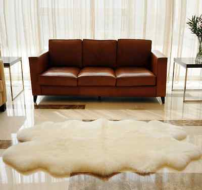 Genuine Sheepskin Rug 100% Quad Real Natural Soft Ivory Warm Home Large Carpet