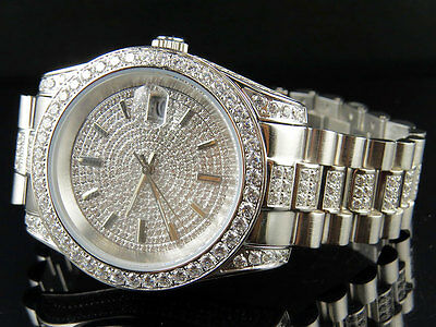 Mens 18K White Gold Steel Simulated Diamond Presidential Watch 41MM PR-02
