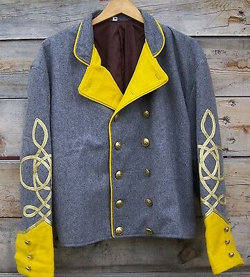 civil war confederate reenactor cavalry shell jacket with 3 braids 48
