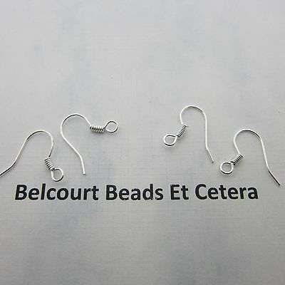 500 Silver Metal Color Coiled Ear Wire Hooks Size:  15mm