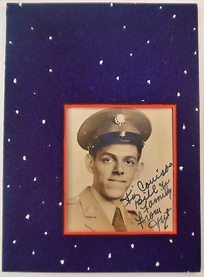 Vintage Signed Photo Christmas Card~WWII US Army Soldier Uniform~Window