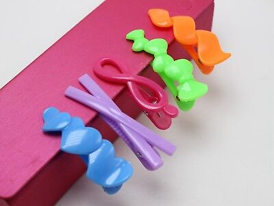 20 Assorted Heart Bows Shape Mixed Color Plastic Alligator Hair Clips for Girls