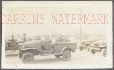 Vintage Photo WWII Army Soldiers w/ Military Truck Fleet 710401