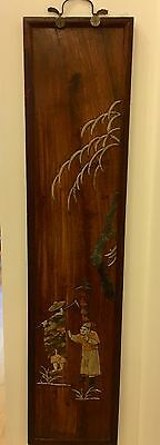 Antique Chinese Carved Stone on Wood Panel  Scenic w Figures