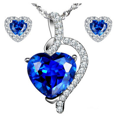 Sterling Silver Heart Shape Created Blue Sapphire Pendant Necklace & Earring Set