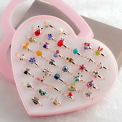 New 10 PCS Lovely Girls Kids Pearls Ring Flowers Stylish Crystal Imitation