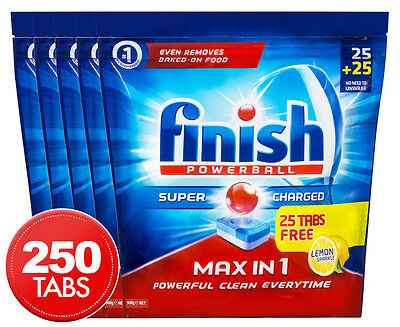 5 x Finish Powerball Super Charged Max in 1 Dishwashing Tabs Lemon Sparkle 50pk