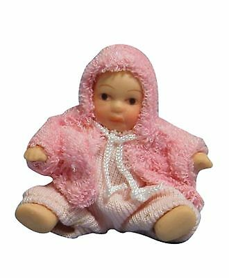 DOLLS HOUSE DOLL1/12th SCALE  MODERN BABY IN PINK