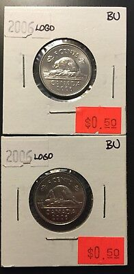 2 x 2006 Canadian 5 Cent LOGO in BRILLIANT UNCIRCULATED (BU) Condition