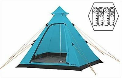 4 Person Tipi Tent Camping Festival Blue
