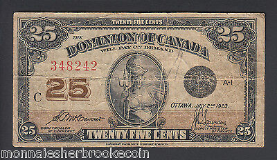 1923  25 Cents Shinplaster - McCavour Saunders - Dominion of Canada - E765