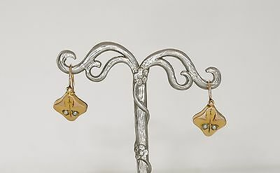 Victorian drop gold filled earrings with pearls