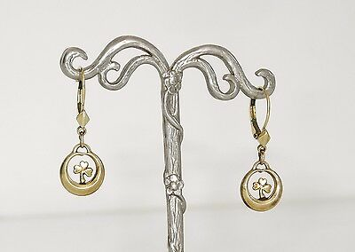 Victorian very old drop rolled gold earrings, sign