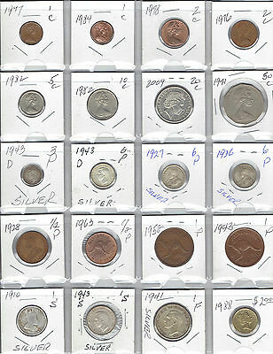 AUSTRALIA Lot of 20 Different Coins - 6 Coins are Silver