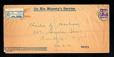 13260-SAMOA-REGISTERED COVER APIA to BROOKLYN (usa) 1923.WWII.Majesty´s service.