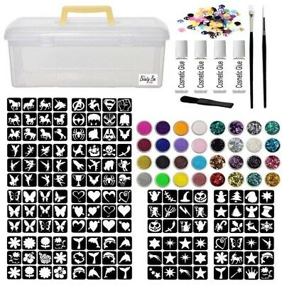 Glitter Tattoo Kit 43 - 275 Large Stencils glue brushes glitter Pots Storage Box