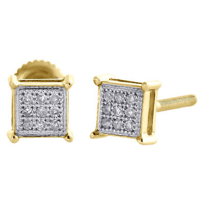 10K Yellow Gold Genuine Diamond Square Studs 4 Prong 5mm Pave Earrings 1/20 CT.