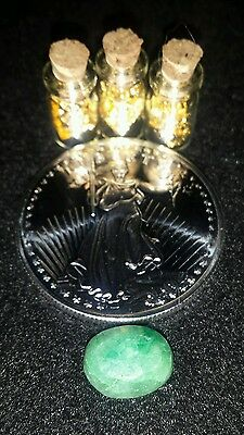 1 oz. 999 silver round ! One Green Emerald + 3 jars of.999 24k gold leaf flakes!