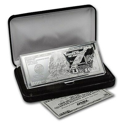 999 4 oz 100 $ Banknote from pure Silver Silver bullion with certificate & Box
