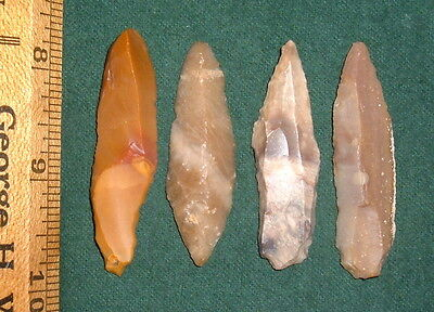 (4) Nice Sahara Mesolithic Morocco Blades, Tools, Prehistoric African Artifacts