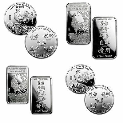 999 Silver Lunar Year of the Rooster 2017 bullion medals Coins