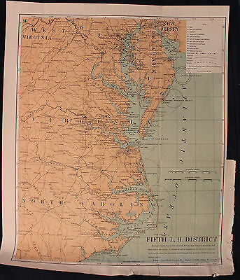 Orig 1903 Lighthouses of Central Atlantic Coast Fifth Lighthouse District Map
