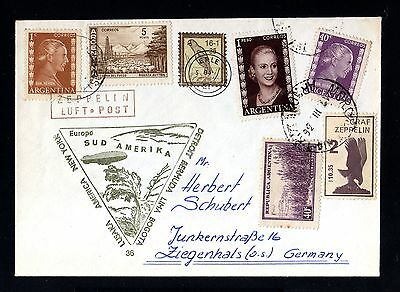 13145-ARGENTINA-AIRMAIL ZEPPELIN COVER  to ZIEGENHALS (germany).1936.WWII.Aerien