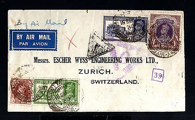 12956-INDIA-AIRMAIL FRONT CENSOR COVER CALCUTA to SWITZERLAND.1940.WWII.BRITISH