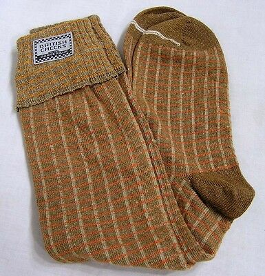 Vintage Pair Mens Socks Brown Orange British Checks with Garterkup 1940s