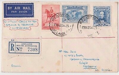 Stamps various on first flight cover Adelaide to Melbourne via Mt Gambier 561a
