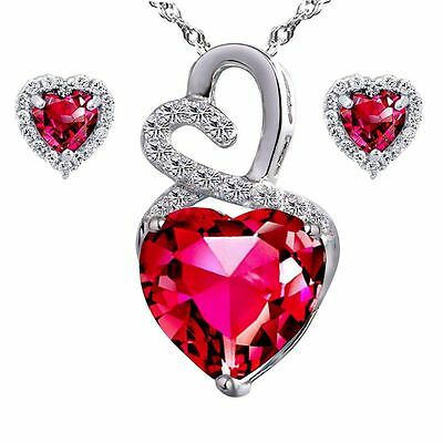 "AAA Created Ruby Heart Pendant Necklace Earring Set Sterling Silver 18"" Chain"