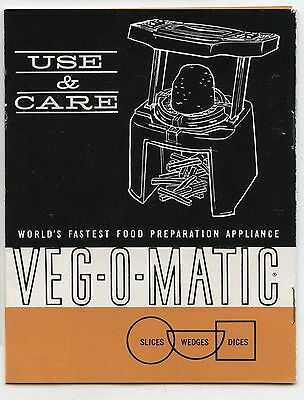 Old 1963 Feature Products Inc Veg-O-Matic Use & Care Booklet