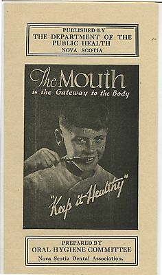 Old 1940's Pamphlet Nova Scotia Dental Mouth Keep it Healthy