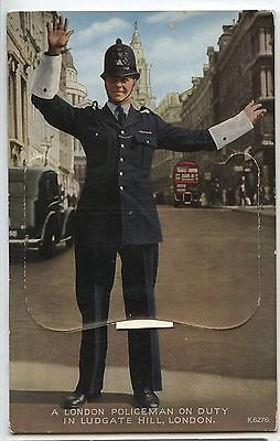 Old Vintage Postcard London Policeman on Duty Fold Out Section