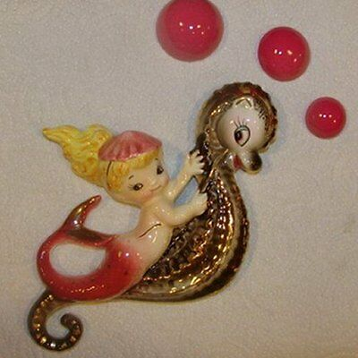 Vintage Lefton Mermaid on Seahorse Ceramic Wall Plaque Hanging w Bubbles