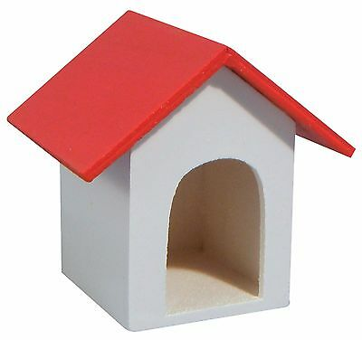 DOLLS HOUSE 1/12th  SMALL PAINTED  WOODEN DOG KENNEL