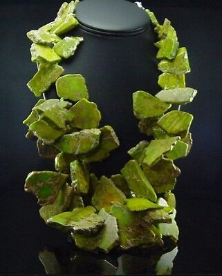 """HUGE Estate Sterling Silver Bright Green Agate Slice Double Strand Necklace 21"""""""