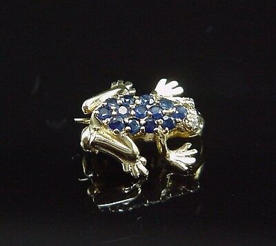 Sweet Vintage Estate Yellow Gold Natural Sapphire Tree Frog Brooch Pin
