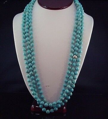 Incredible Estate Artisan 84 Inch 8.5mm Turquoise Opera Length Strand Necklace