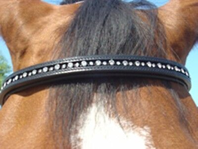 PROTACK DIAMANTE BROWBAND - Black or havana for the horse or pony - with crystal