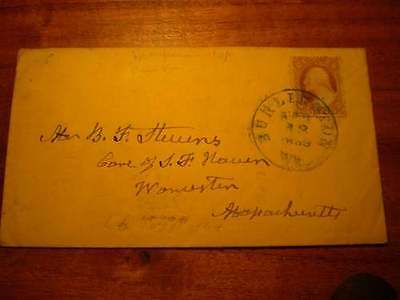 (X180) EARLY USA COVER 3c STAMP BLUE CANCEL