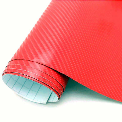 4D Red Carbon Fibre Vinyl Wrapping Car Van Roof Bonnet shinny 2m x1.52m